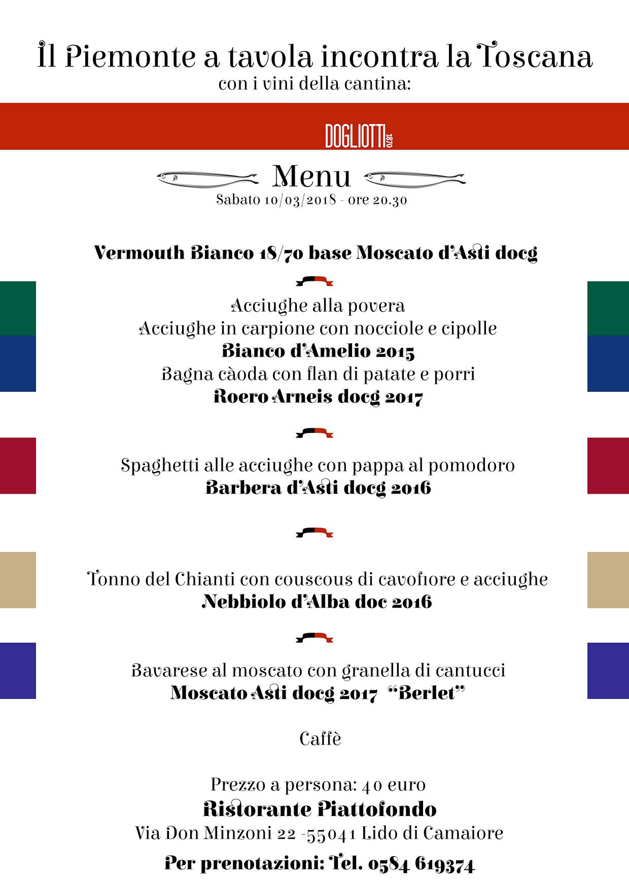 l'acciuga nella cucina piemontese e toscana abbinata ai vini della cantina Dogliotti 1870, una cena in compagnia di Erik Dogliotti, di amici e buongustai!