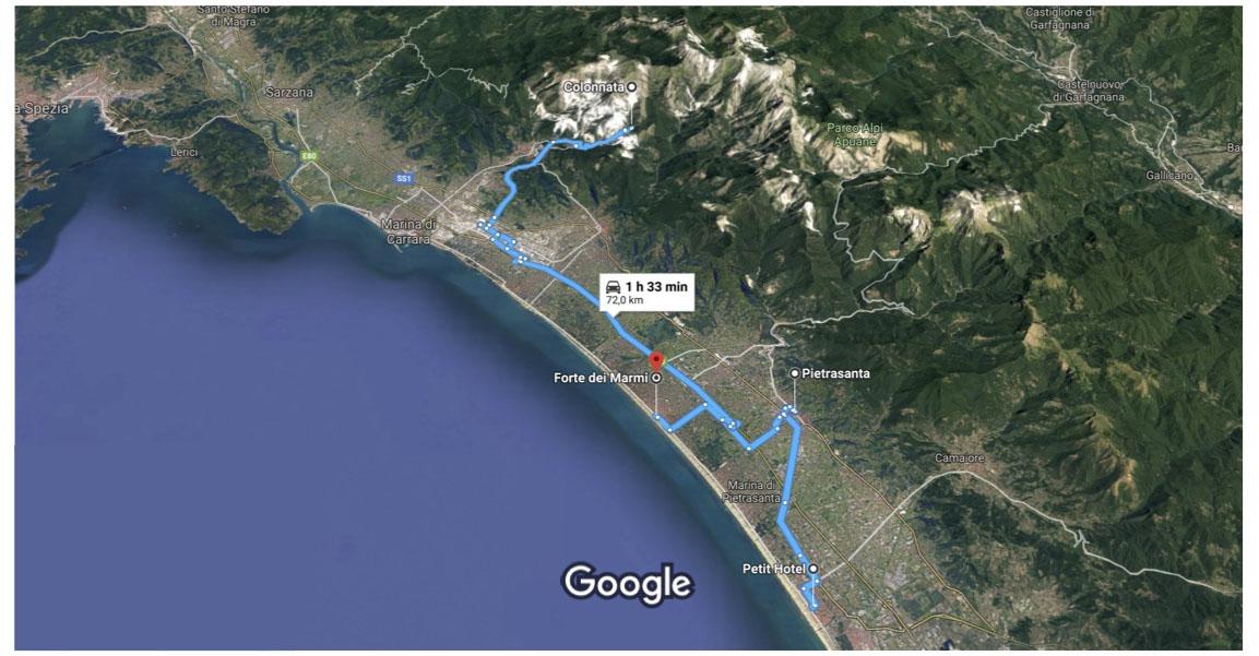 itinerario da Petit Hotel alle Cave di Carrara Pietrasanta e Forte dei Marmi su Google Maps