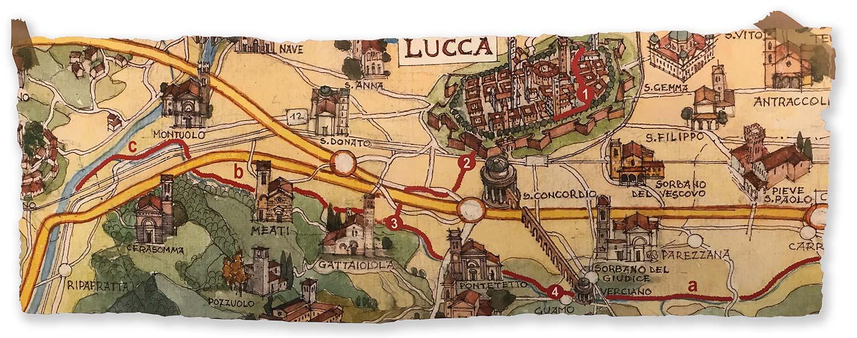 Mappa dal Condotto Pubblico alla Piscilla e lungo il canale Ozzeri